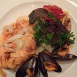 Cod, mussels, pasta