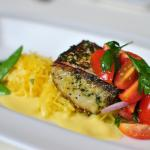 Roasted Filet of Kingfish, Spaghetti Squash, Sugar Snaps, Cherry Tomato Salad