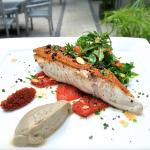 Sea bass with crispy crust, dried tomato tapenade and eggplant caviar