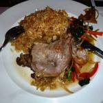 Duck confit with rice & vegetables
