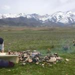 Matias preparing the barbecue
