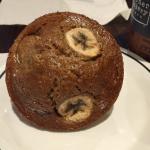 Banana muffin, pancake combo, Anaheim scrambler