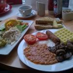 Vegetarian breakfast and leak n feta frittata