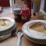 Homemade apple n blackberry pie with custard/cream
