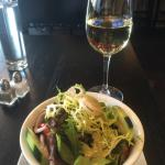 Side salad and Riesling