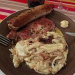 Le panaché : andouillette, côte de porc ! Et la fameuse truffade