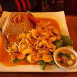 Khao Mok Gai (Thai Style Rice Curry with Herbed Chicken Served with Cucumber Salad Dip)