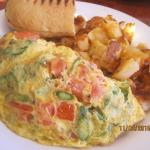 Asparagus, tomato and goat cheese omelet - DELICIOUS!