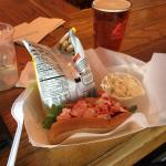 The lobster roll and a beer