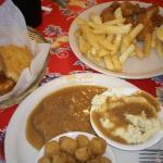 Country Fried Steak, French Fries and Chicken Tenders