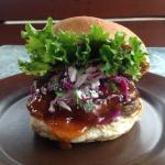 "The Main Street Diner's special for Nelson's ""Burger Week"" Lamb burger with mango chutney and fr"
