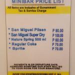 Mini Bar Price List, Water is 500ml.