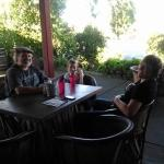 enjoying the outside dining area while waiting for our dinner