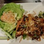 Vietnamese Barbeque Chicken (Grilled Half Chicken), Rice, Cucumber, Bibb lettuce and slaw