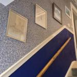The blue 'river' theme continues on the stair case which leads down to the meeting room and toil