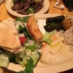 The lunch special - choice of meat (beef shwarma), rice, falafel, dolma, hummus, Greek salad