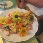 Amazing omelet they made with edible flowers on top