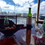 Outdoor seating with amazing views of Pensacola Bay