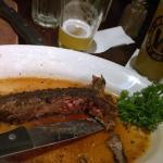 Porterhouse steak all gone. Delicious