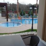 View of pool from patio of downstairs apartment