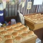 約20種の焼き立てパンが並ぶ
