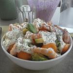 Salade de crevettes&melon&avocat