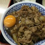 Beef bowl with raw egg
