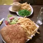 Burger and pie at The White Hart