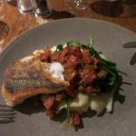 Oven roasted hake, wilted spinach, mash and a chorizo compote