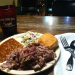 Jumbo portion of pulled pork with beans and slaw