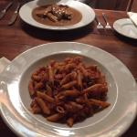 Ammatriciana pasta and chicken in peppercorn sauce!! Beautiful