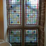 The bathroom stained glass window.