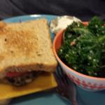 Walnut Lentil Vegan Burger with kale and quinoa salad