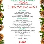 Paolo's Christmas Day Lunch Menu 25 December 2015