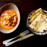 Not an Indian dish, but we love it anyway....Butter Chicken & fresh hot Garlic Naan