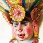 Huge vintage wooden  Mexican mask