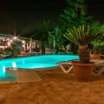 Pool area at night!