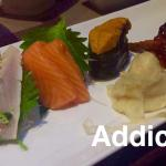 Spanish mackerel, King salmon, Uni. Sake martini. Spicy scallop brown rice handroll  with tobiko