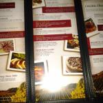 The inside of the menu.