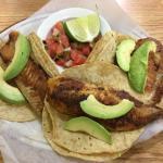 Vegetarian and fish tacos.