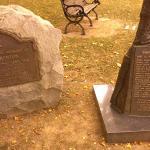 base of Simon Kenton statue in park