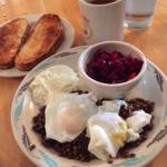 French lentils and poached eggs