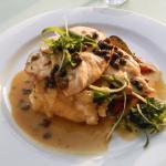 Chicken, Butter Caper Sauce, Mash & Seasonal Veg