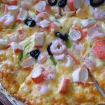 Pizza w/ seafood. Cheesy goodness