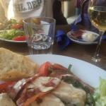 Chicken and Bacon Salad and a Glass of Pinot Grigio