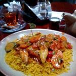 Chicken strips & veg on spicy rice