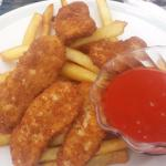 Vegan buffalo chicken strips and fries