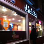 Outside Habibi at night