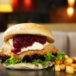 Camembert & cranberry on crumbed chicken