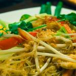 Thai noodles with chicken bean shoots and peppers